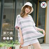 *蔓蒂小舖孕婦裝【M11673】*韓國製.棉花糖配色條紋彈力寬版上衣