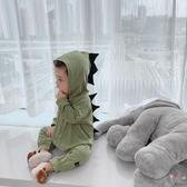 兒童連身裝 秋裝男寶寶連身衣造型恐龍嬰幼兒連身衣兒童連帽爬服 2色
