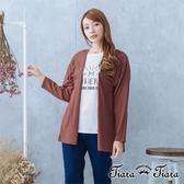 【Tiara Tiara】激安 透感背拼接純棉罩衫(典雅灰/咖啡紅)