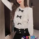 荷葉邊上衣 2021年秋季新款法式氣質荷葉邊設計感蝴蝶結短款長袖針織衫上衣女寶貝計畫 上新