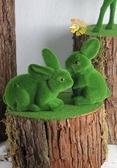 森林系婚禮佈置 綠絨毛小兔*2 (不包括底部木頭!!!)