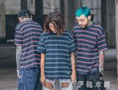 夏季新款寬鬆OVERSIZE簡約撞色條紋男女學生情侶裝INS短袖T恤   伊鞋本鋪