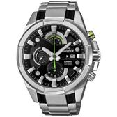 CASIO EDIFICE系列 光速逆轉勝三眼賽車運動錶-綠x銀