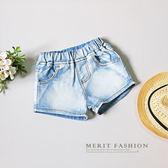 淺色百搭單寧牛仔短褲 英國 國旗 織標 條紋 口袋 牛仔 短褲 童裝 韓版 美式 哎北比