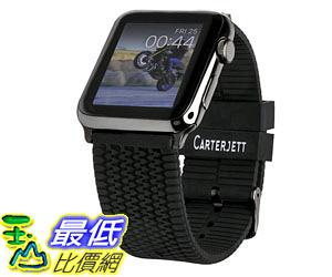 [105美國直購] 蘋果錶帶 Carterjett 42mm Silicone Tire Tread Design with Space Black Adapters and Classic Buckle B015QIX2RS