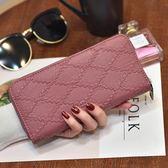 韓版女士手拿錢包女長款手抓包時尚菱格單拉手拎錢包軟面可放手機