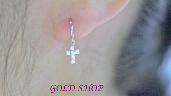 ╭☆ gold shop ☆╯白K金 耳環 附白K耳扣 [ ke 011 ]