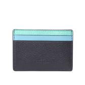 【COACH】防刮皮革拼色卡夾/名片夾(綠/藍/黑)F11739 SVMC