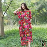 大尺碼洋裝大尺碼女民族風寬鬆印花短袖中長連身裙 限時降價