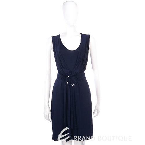PAOLA FRANI 深藍色皺褶綁帶無袖洋裝 0940069-34