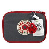 Kipling 100 PENS 紅灰雙色波紋雙層文具收納盒(可容100隻筆)-KI10742FL