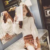 秋冬季韓版半高領打底顯瘦針織衫寬松蝙蝠衫套頭燈籠袖毛衣 米蘭shoe
