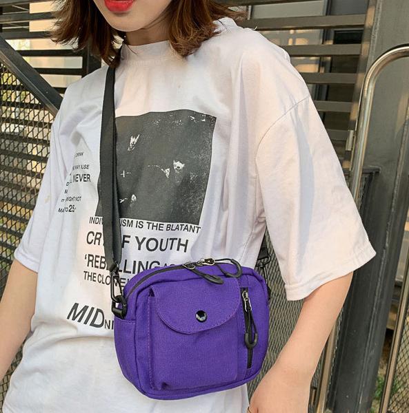 [現貨]  側肩背 斜肩背 帆布包 實用 輕便 質感 休閒百搭 韓系簡約 黑/黃/紫/白色 H2010 OT SHOP