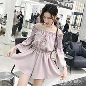 露肩洋裝 時尚韓版小心機收腰連體褲裙子一字肩小個子連身裙女 傾城小鋪