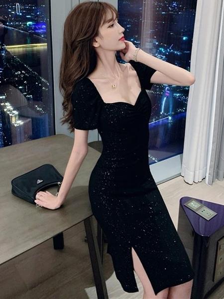 小禮服 法式平時可穿禮服小個子復古方領修身顯瘦亮閃閃開叉性感連身裙夏 萊俐亞