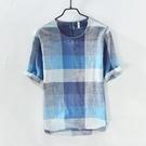 夏季亞麻短袖t恤男圓領格子半截袖t桖棉麻衣服薄款青年上衣五分袖 快速出貨