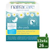 【Natracare】英國綠可兒有機棉衛生棉(超薄蝶翼/量多日用/26cm) 12片 4入組【屈臣氏】