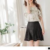 《CA1985》韓系雅緻鏤空蕾絲後腰鬆緊A字打摺短裙--適 XL~6L OrangeBear