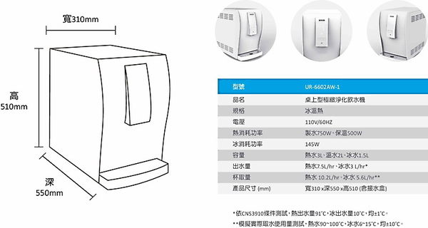 【fami】賀眾牌家庭桌上型極緻淨化飲水機 UR-6602AW-1 桌上型極緻淨化飲水機