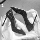 宴會鞋黑色高跟鞋2020春季新款法式少女尖頭職業細跟百搭亮片性感宴會 伊蒂斯女裝