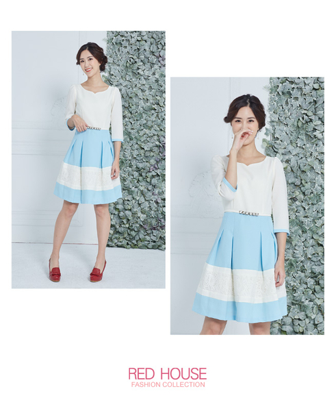 Red House 蕾赫斯-愛心領蕾絲剪接洋裝(藍色)(無附腰帶)