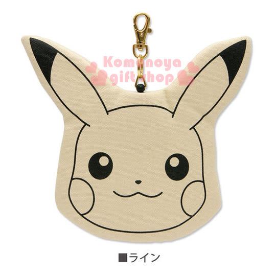 〔小禮堂〕神奇寶貝Pokémon 皮卡丘 帆布造型票卡夾《米白.大臉》附伸縮掛勾 4518645-52463