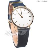 ROSEFIELD 歐風美學 時尚簡約 圓形 真皮 女錶 防水手錶 金x藍色 WBUG-W70