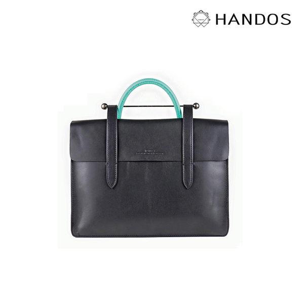 HANDOS| Musician 皮革音譜手提包 - 黑 x 藍綠↘76折價