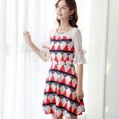 洋裝 中大尺碼春夏新款韓版甜美修身蕾絲拼接印花連身裙優雅百搭打底裙中裙 交換禮物