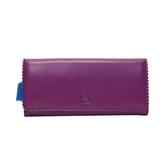 LOEWE 紫色羊皮花邊造型兩折式長夾 【二手精品BRAND OFF】