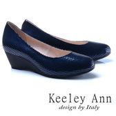 ★2017秋冬★Keeley Ann神秘魅力~素面質感格紋OL全真皮楔形鞋(藍色)