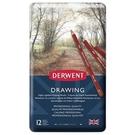 DERWENT 炭精筆大地色系12色-鐵盒裝 DW0700671