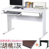Homelike 路易120cm辦公桌(加厚桌面-附抽屜.鍵盤架)桌面-胡桃