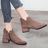 短靴 微微語短靴女靴子新款裸靴蝴蝶結粗跟中跟加絨秋冬季高跟鞋【快速出貨】
