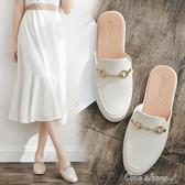 懶人鞋夏厚底無後跟一腳蹬毛毛拖鞋女外穿平底包頭半拖鞋 交換禮物