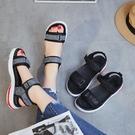 運動涼鞋女鞋夏季新款平底學生韓版百搭厚底松糕休閑沙灘鞋