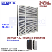 適用Philips飛利浦 AC4081 AC4080奈米水潤空氣清淨機複合式2合1含活性碳HEPA替換濾網濾芯