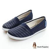 Hush Puppies 無印風網條咖啡紗TiTi懶人鞋-深藍