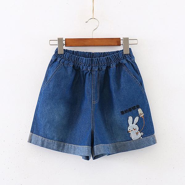 *ORead*韓版高腰顯瘦刺繡熱褲牛仔短褲(2色M,L)