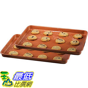 [8美國直購] 烤盤 Gotham Steel Nonstick Copper Cookie Sheet and Jelly Roll Baking Pan 12吋 x 17吋 2 PACK