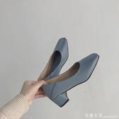 粗跟單鞋女2020春款韓版百搭復古方頭淺口網紅ins潮氣質休閒鞋潮