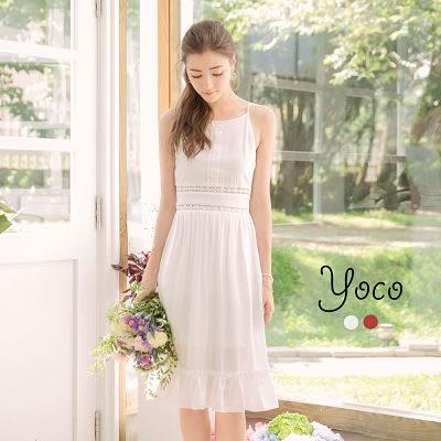 東京著衣【YOCO】氣質花朵蕾絲拼接下襬荷葉洋裝-S.M.L(171188)