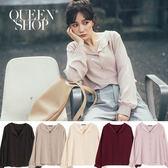 Queen Shop【01023450】菱形領雪紡襯衫 五色售*現+預*