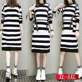 秋裝新款顯瘦條紋連衣裙 XL-5XL O-Ker歐珂兒150419