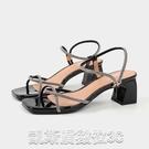 高跟涼鞋2021夏季新款歐美交叉細帶粗跟涼鞋女鞋貨號2-4103 【快速出貨】