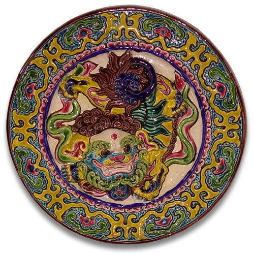 鹿港窯-交趾陶居家開運裝飾壁飾~L祥獅戲球