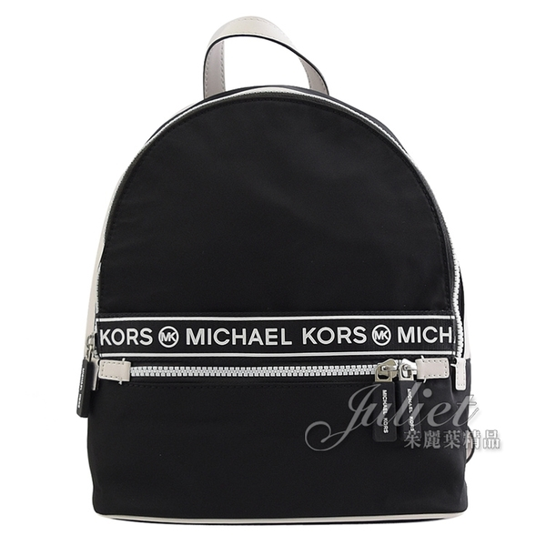 茱麗葉精品【全新現貨】MICHAEL KORS KENLY 新版尼龍皮飾邊雙肩後背包.黑 小款