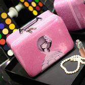 化妝包收納包便攜可愛大容量手提洗漱包專業化妝箱少女風範-黑色地帶