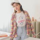 MUMU【T62535】彩虹配色格紋長袖襯衫