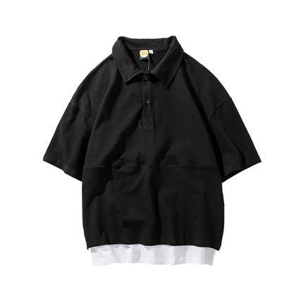 Polo衫日系翻領學生潮牌假兩件短袖T恤夏季五分袖POLO衫男 全網最低價
